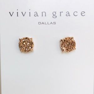Jewelry - Rose Gold Drusy & 18k Rose Gold Stud Earrings